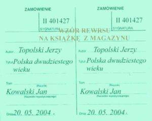 Wzór rewersu na książkę z magazynu, zarejestrowaną w katalogu kartkowym