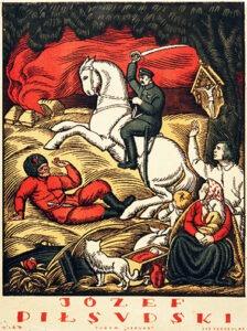 Józef Piłsudski, rys. Władysław Skoczylas, litografia barwna, ok. 1920, www.polona.pl