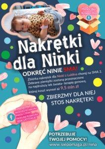 """Plakat akcji """"Nakrętki dla Ninki"""""""